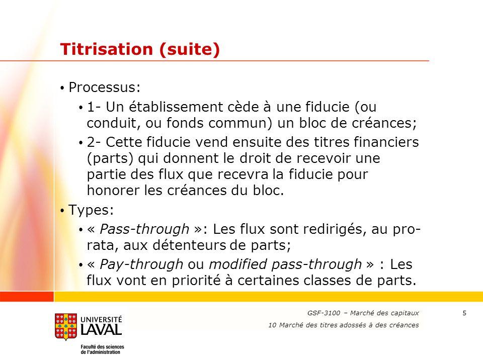Titrisation (suite) Processus: