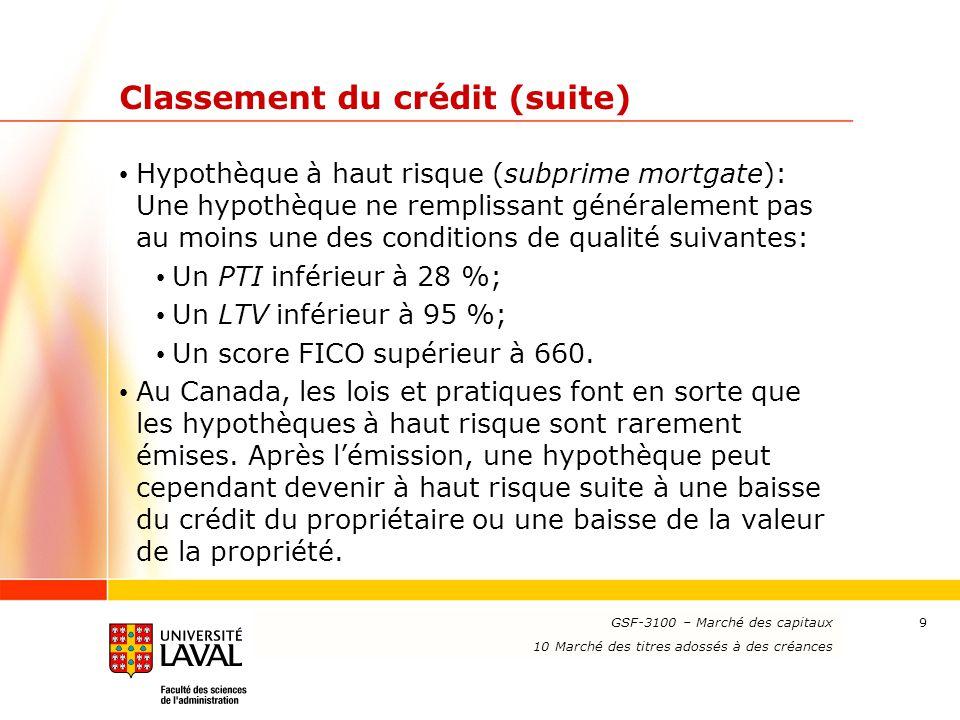 Classement du crédit (suite)