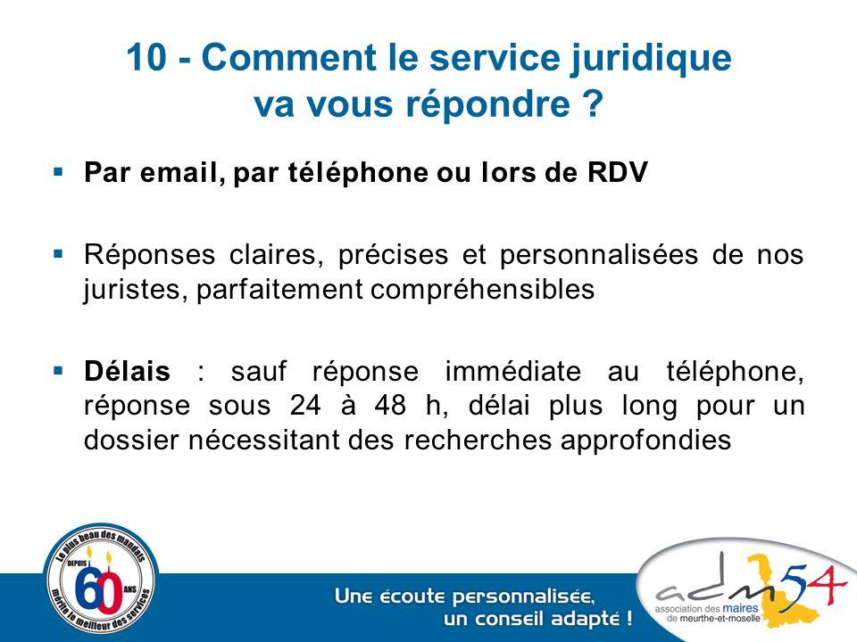10 - Comment le service juridique va vous répondre