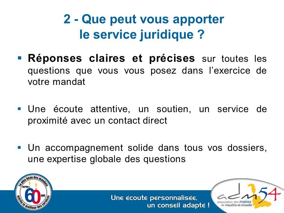 2 - Que peut vous apporter le service juridique