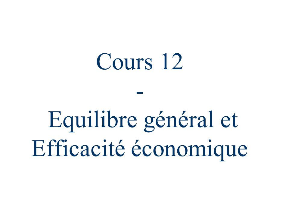Cours 12 - Equilibre général et Efficacité économique