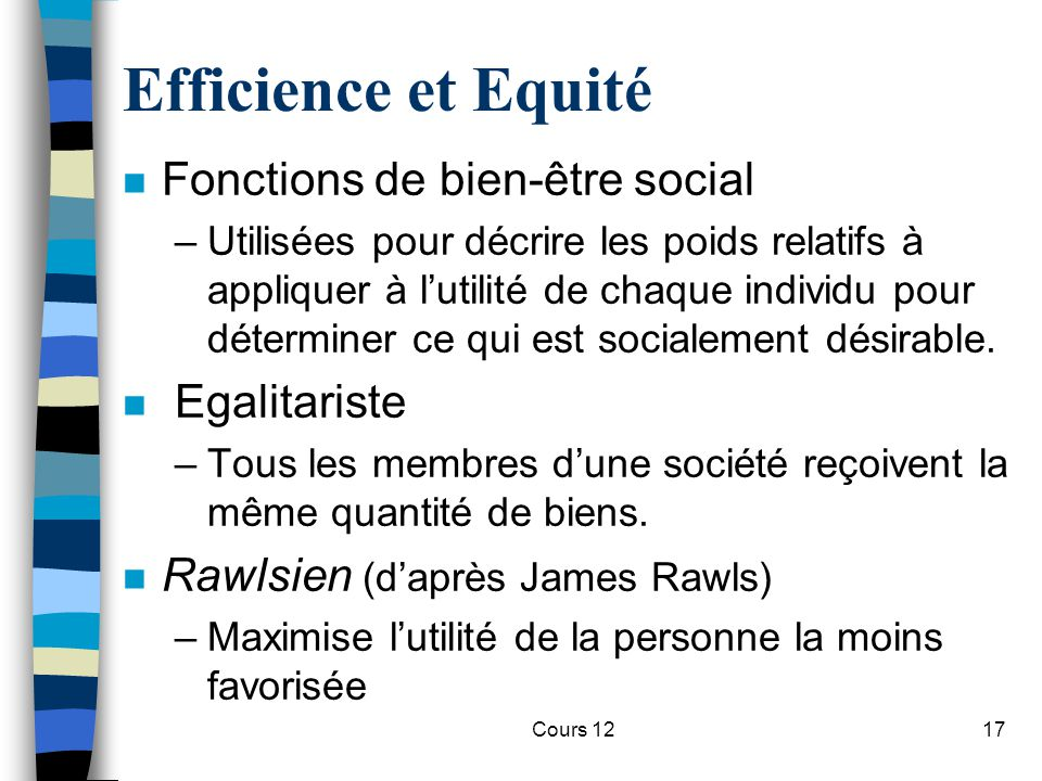 Efficience et Equité Fonctions de bien-être social Egalitariste