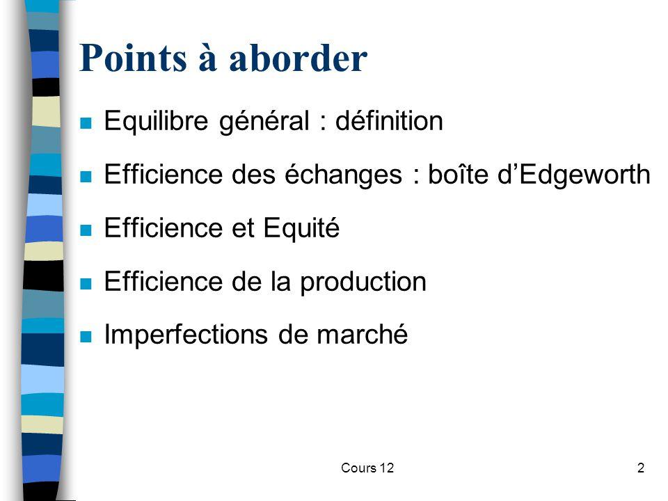 Points à aborder Equilibre général : définition