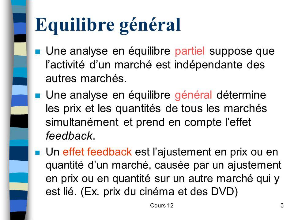 Equilibre général Une analyse en équilibre partiel suppose que l'activité d'un marché est indépendante des autres marchés.