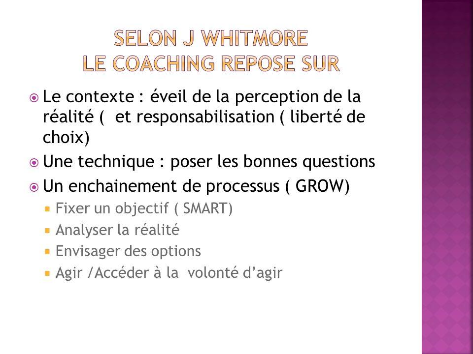 Selon J WHITMORE le coaching repose sur
