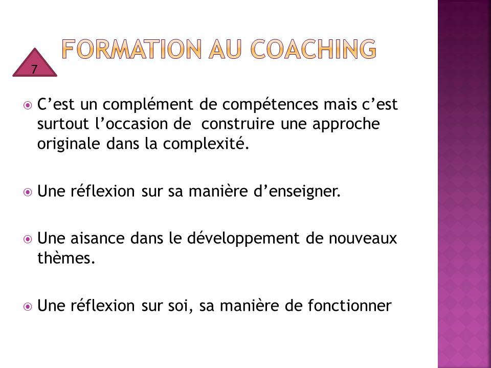 Formation au coaching 7.