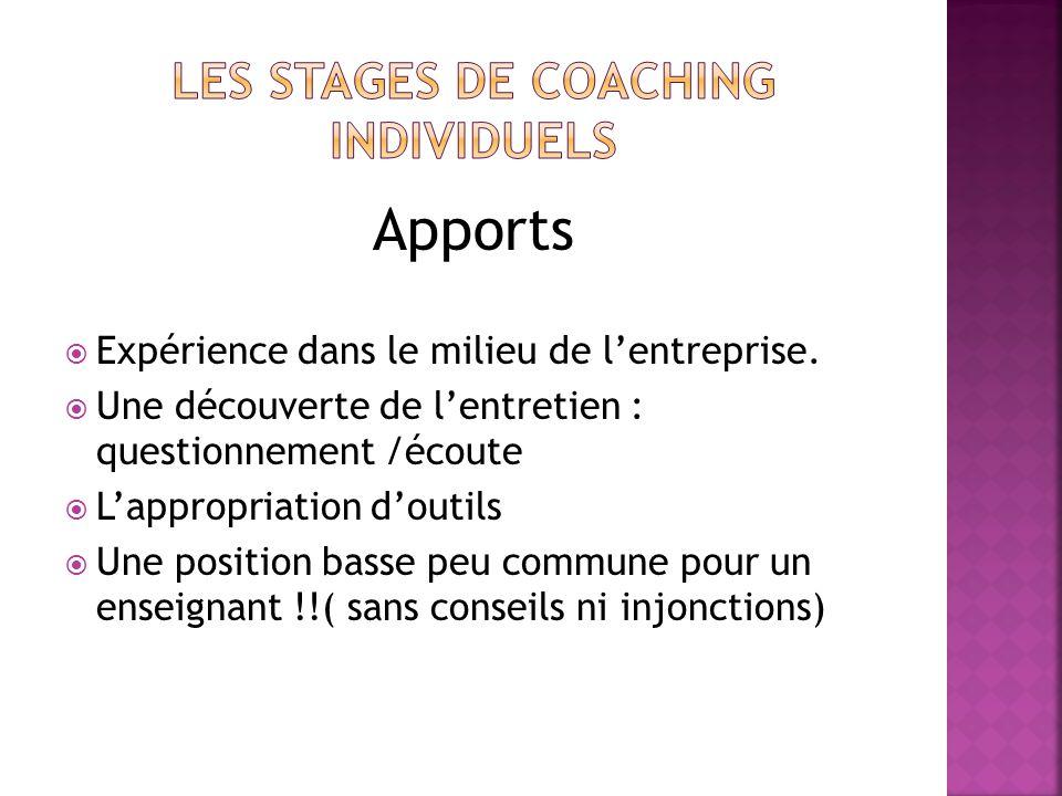 Les stages de coaching individuels