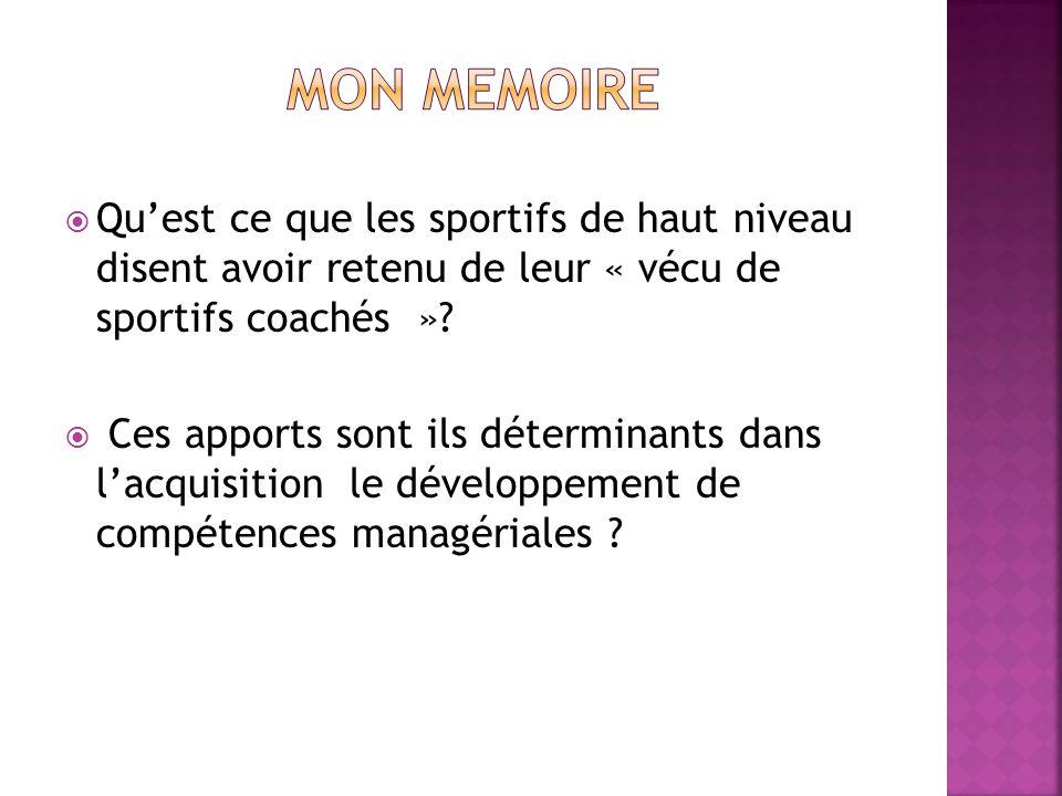 MON MEMOIRE Qu'est ce que les sportifs de haut niveau disent avoir retenu de leur « vécu de sportifs coachés »