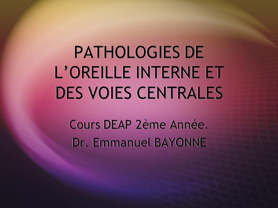 PATHOLOGIES DE L'OREILLE INTERNE ET DES VOIES CENTRALES