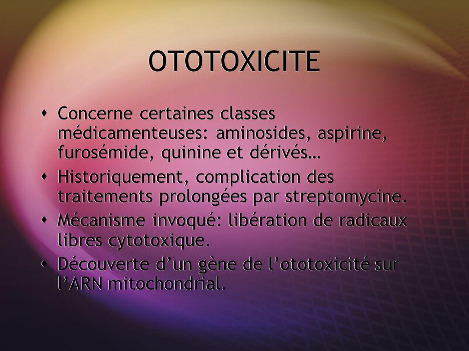 OTOTOXICITE Concerne certaines classes médicamenteuses: aminosides, aspirine, furosémide, quinine et dérivés…