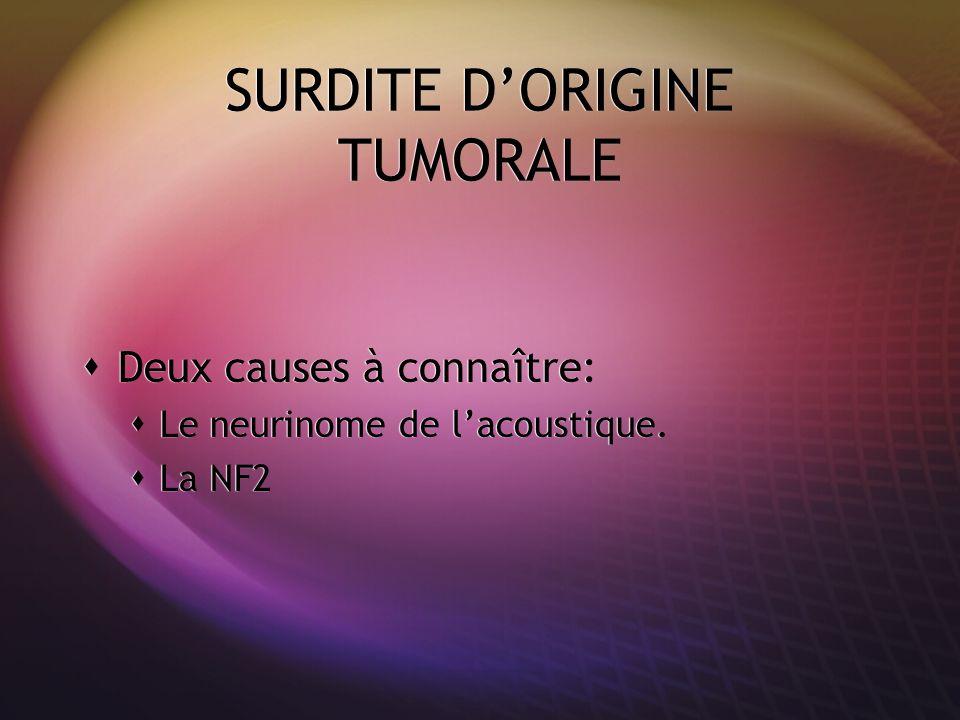 SURDITE D'ORIGINE TUMORALE