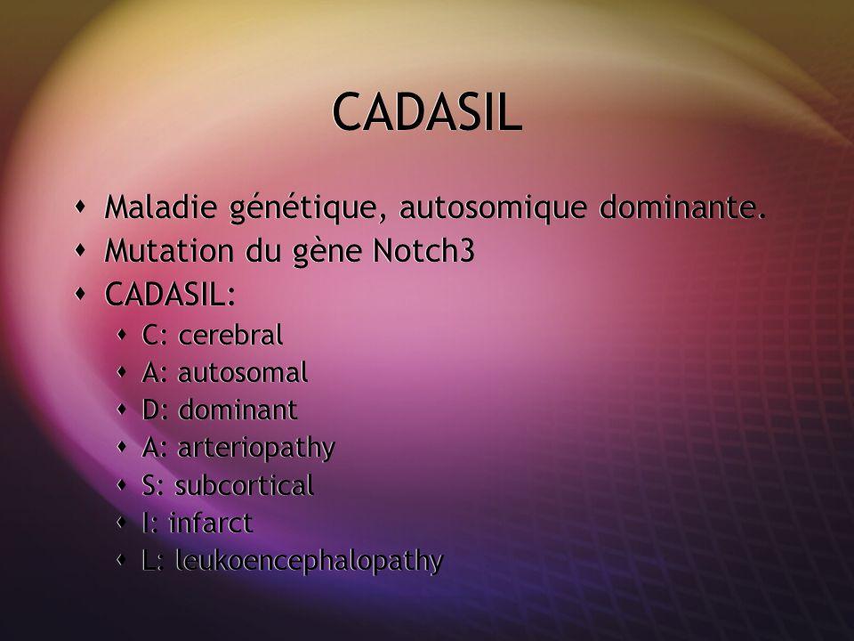 CADASIL Maladie génétique, autosomique dominante.