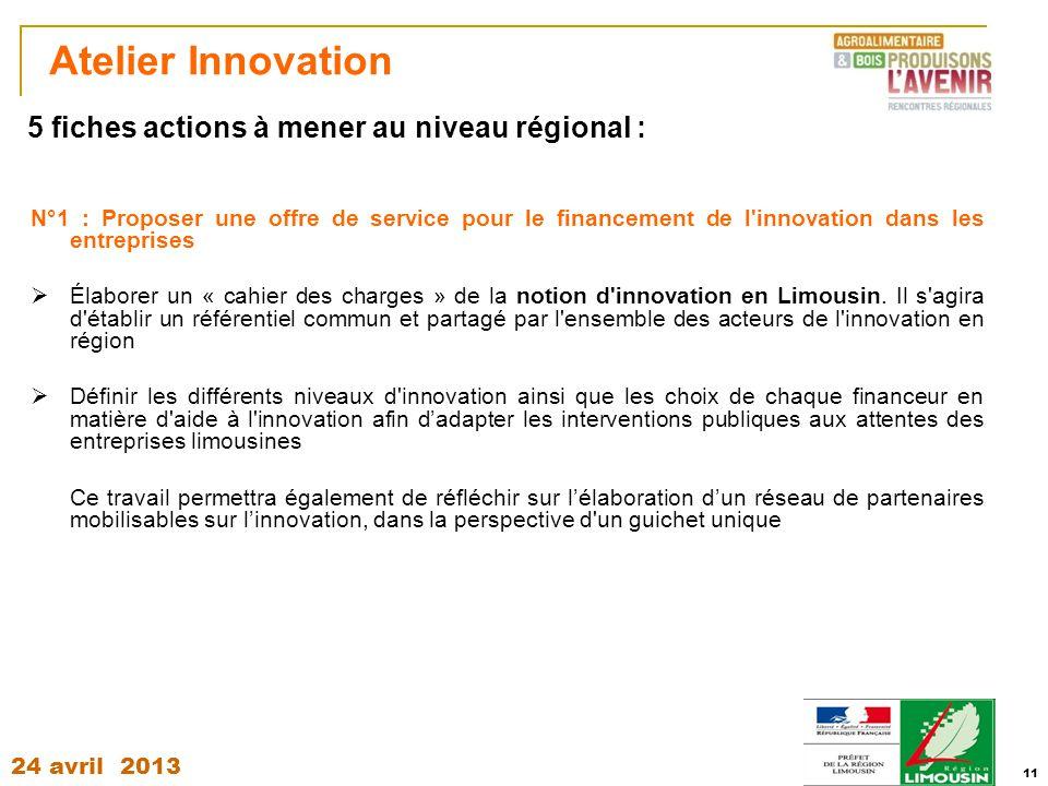 Atelier Innovation 5 fiches actions à mener au niveau régional :