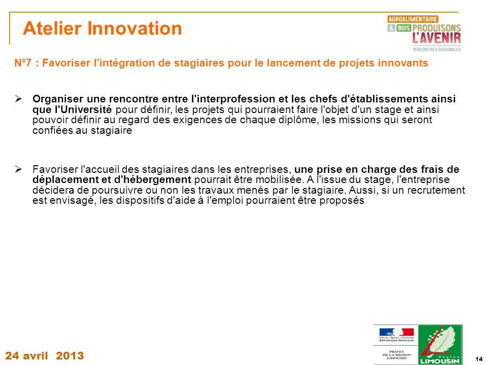 Atelier Innovation N°7 : Favoriser l intégration de stagiaires pour le lancement de projets innovants.