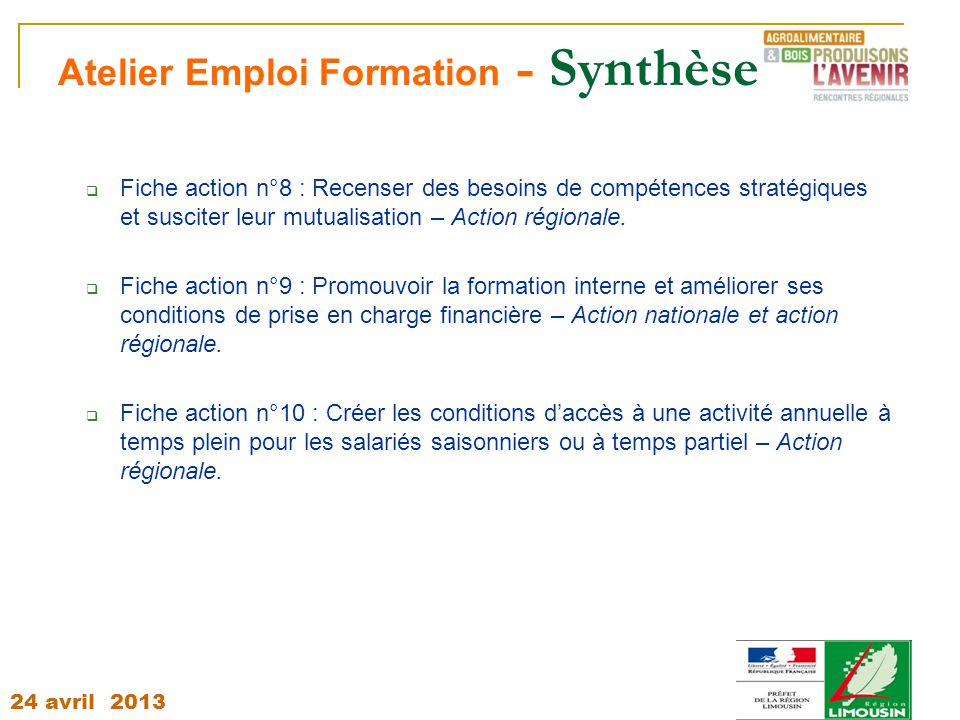 Atelier Emploi Formation - Synthèse