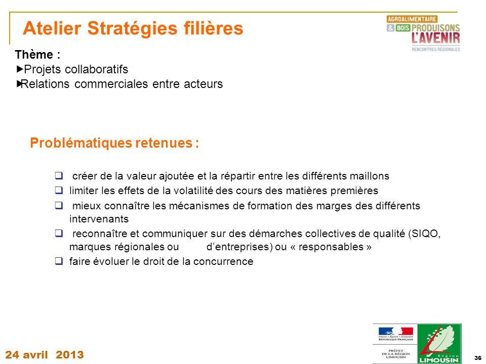 Atelier Stratégies filières