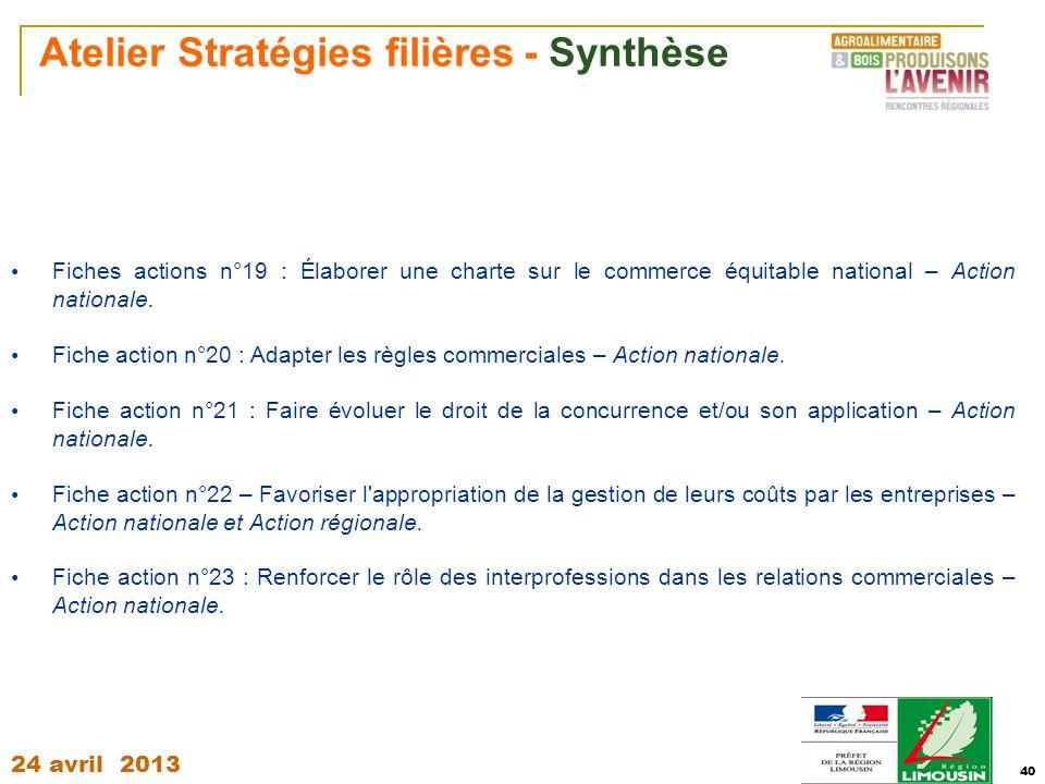 Atelier Stratégies filières - Synthèse