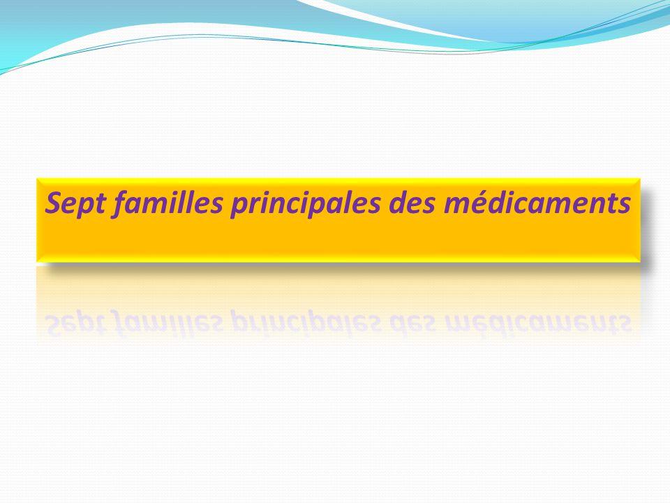 Sept familles principales des médicaments