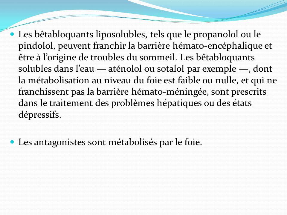 Les bêtabloquants liposolubles, tels que le propanolol ou le pindolol, peuvent franchir la barrière hémato-encéphalique et être à l'origine de troubles du sommeil. Les bêtabloquants solubles dans l'eau — aténolol ou sotalol par exemple —, dont la métabolisation au niveau du foie est faible ou nulle, et qui ne franchissent pas la barrière hémato-méningée, sont prescrits dans le traitement des problèmes hépatiques ou des états dépressifs.