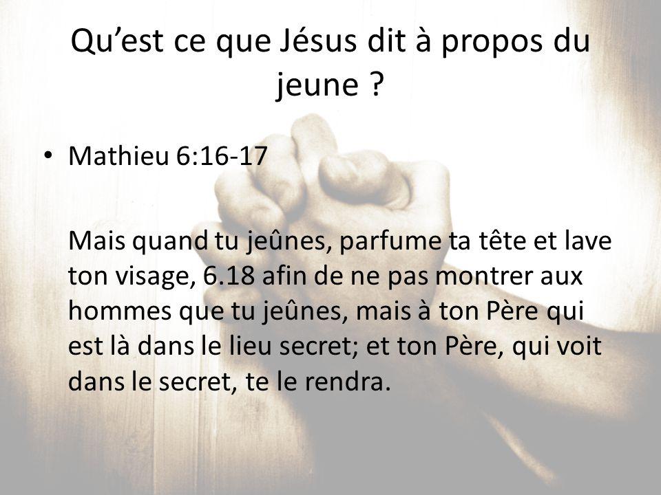 Qu'est ce que Jésus dit à propos du jeune