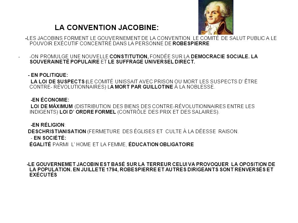 LA CONVENTION JACOBINE: