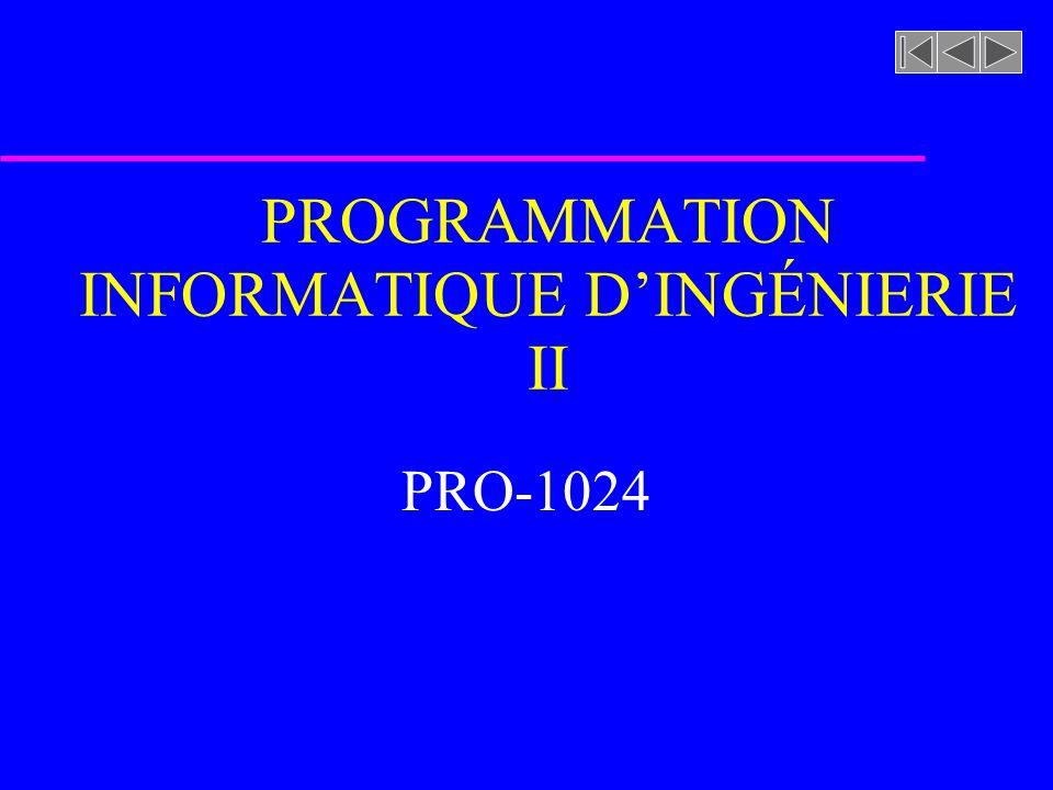 PROGRAMMATION INFORMATIQUE D'INGÉNIERIE II