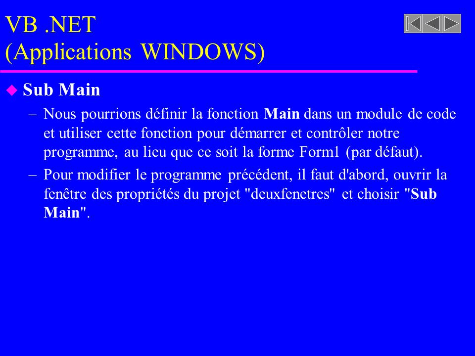 VB .NET (Applications WINDOWS)