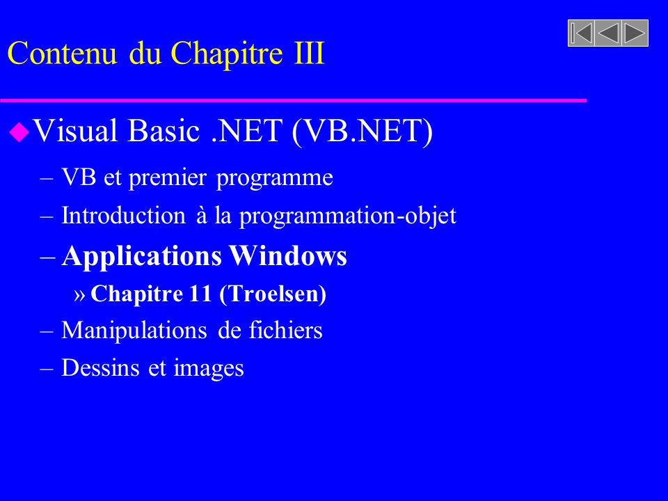 Contenu du Chapitre III