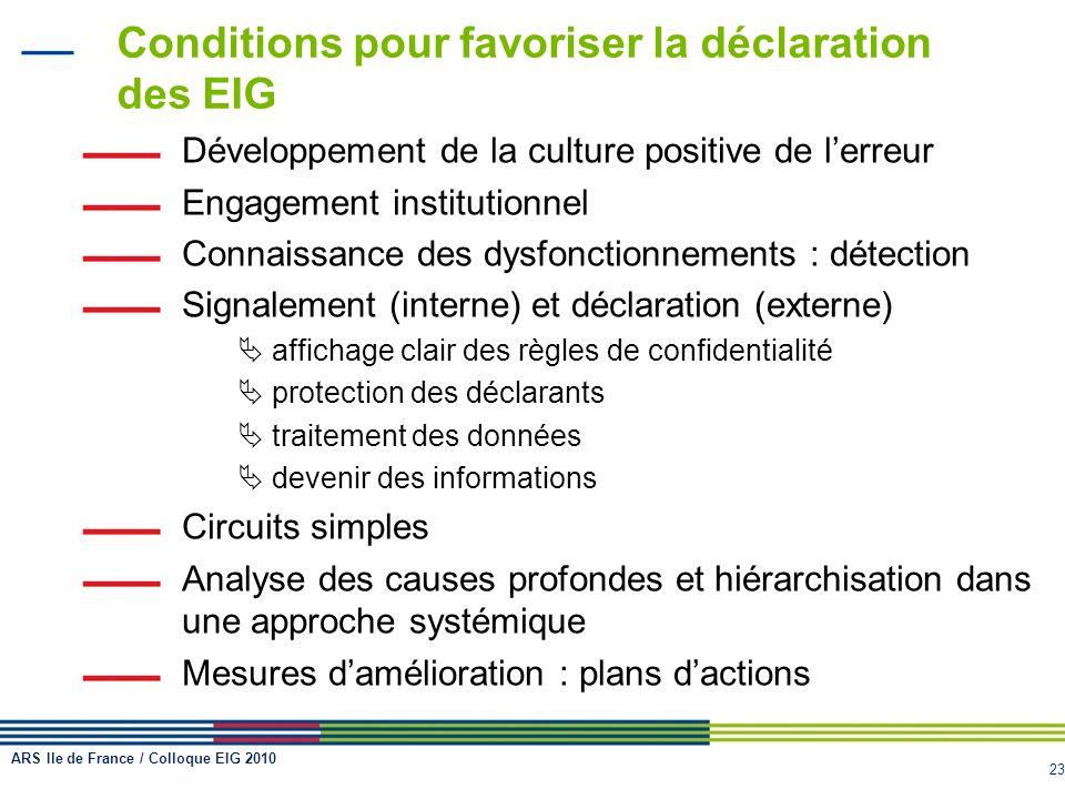 Conditions pour favoriser la déclaration des EIG