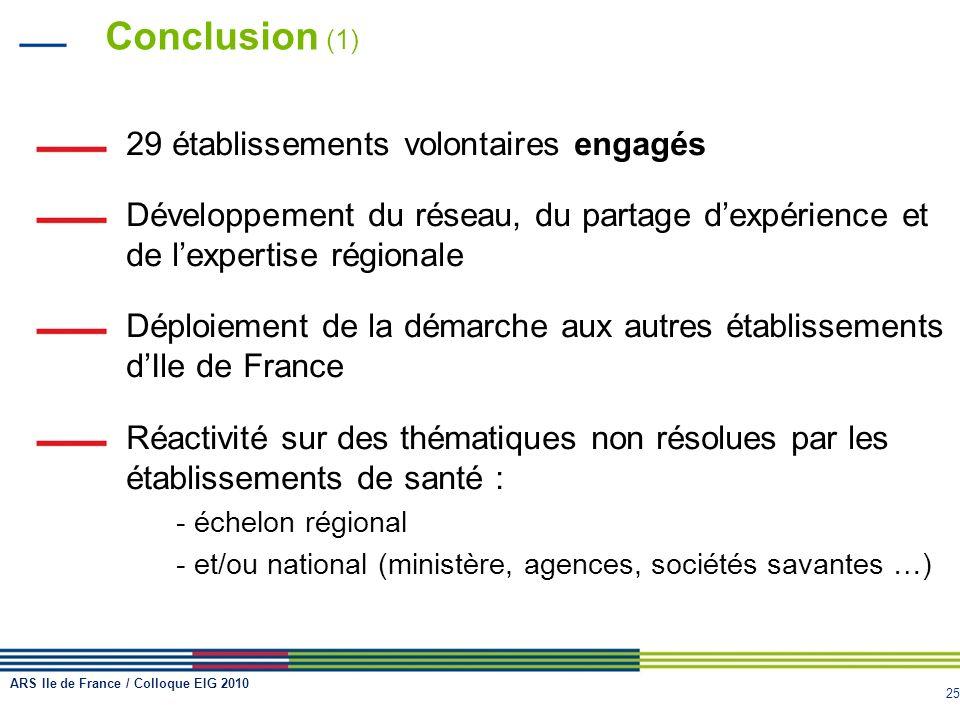 Conclusion (1) 29 établissements volontaires engagés