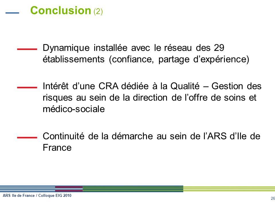 Conclusion (2)Dynamique installée avec le réseau des 29 établissements (confiance, partage d'expérience)