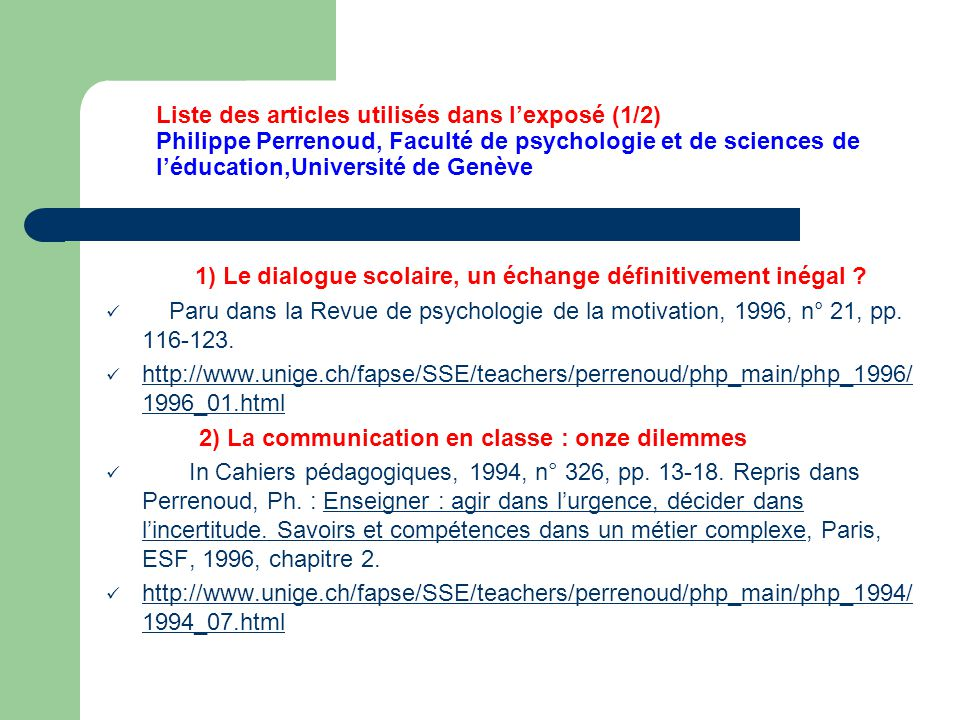 2) La communication en classe : onze dilemmes