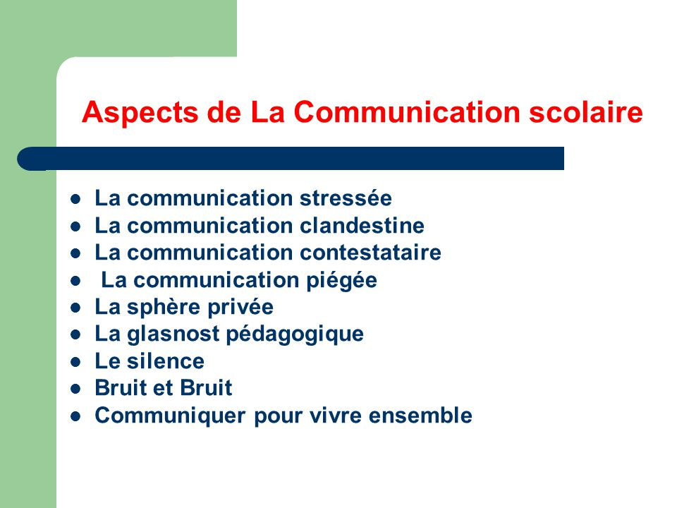 Aspects de La Communication scolaire
