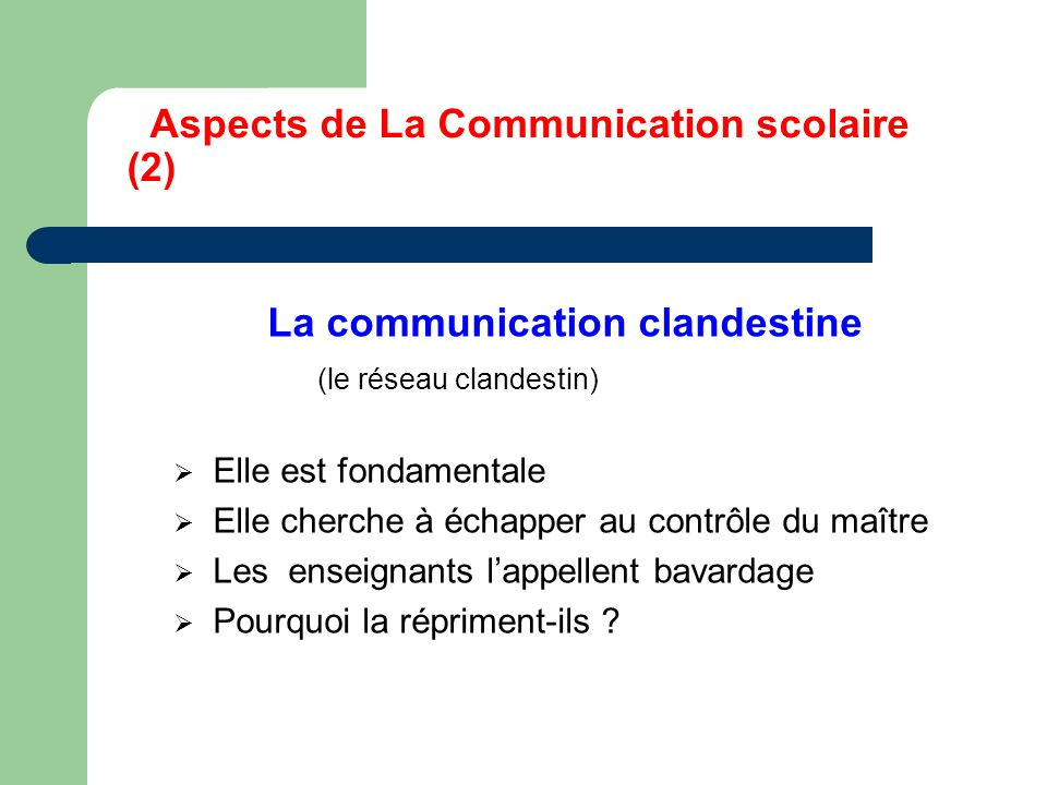 Aspects de La Communication scolaire (2)