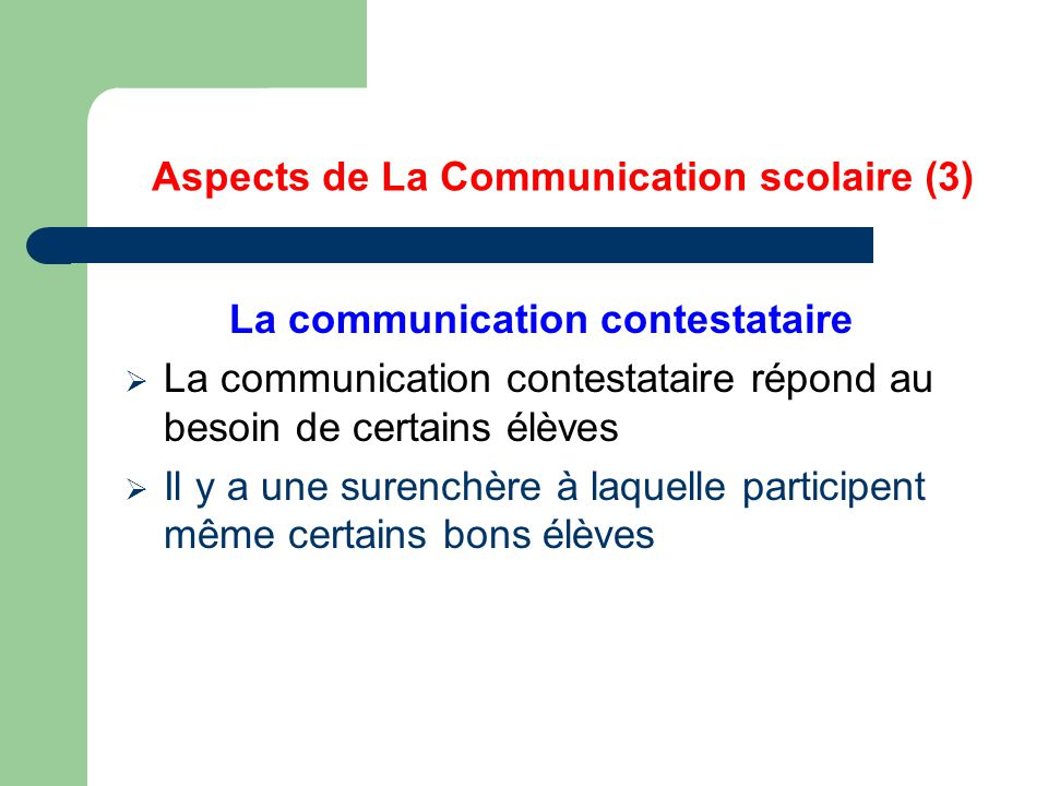 Aspects de La Communication scolaire (3)