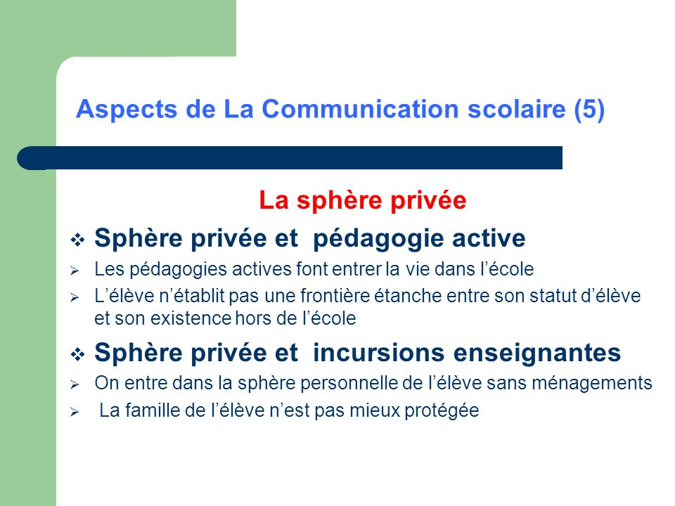 Aspects de La Communication scolaire (5)