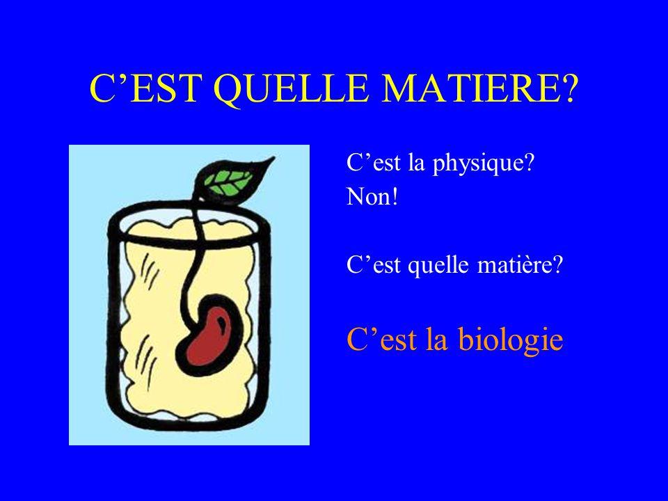 C'EST QUELLE MATIERE C'est la biologie C'est la physique Non!