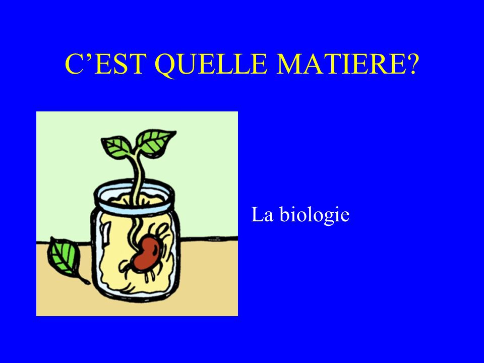C'EST QUELLE MATIERE La biologie