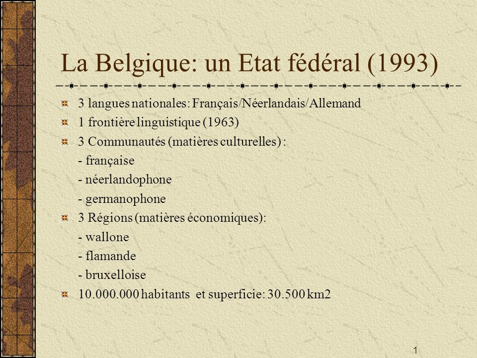 La Belgique: un Etat fédéral (1993)