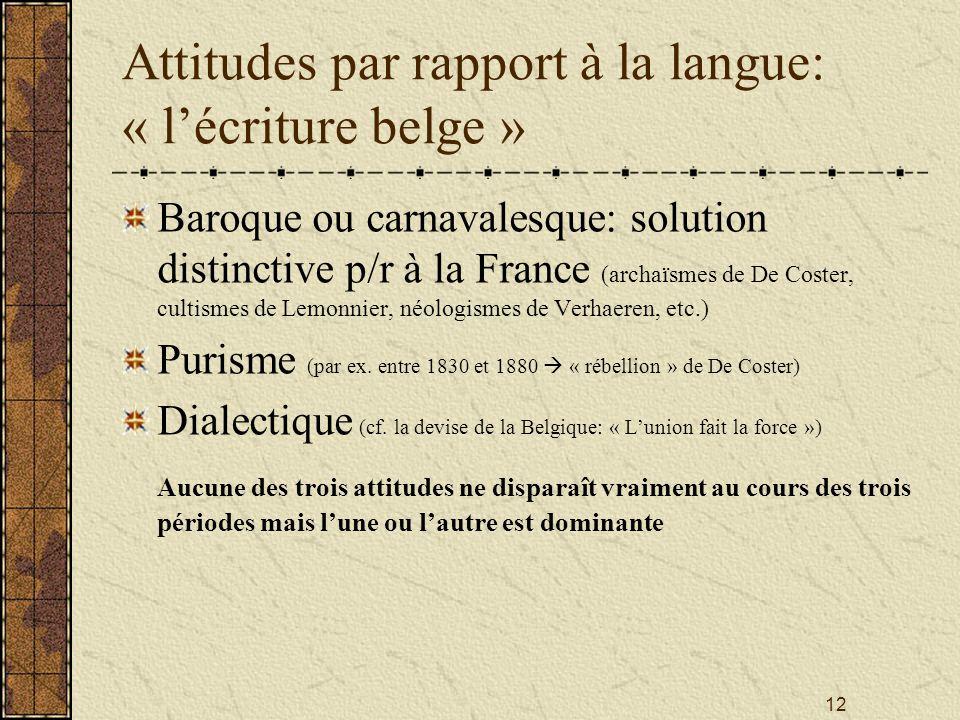 Attitudes par rapport à la langue: « l'écriture belge »