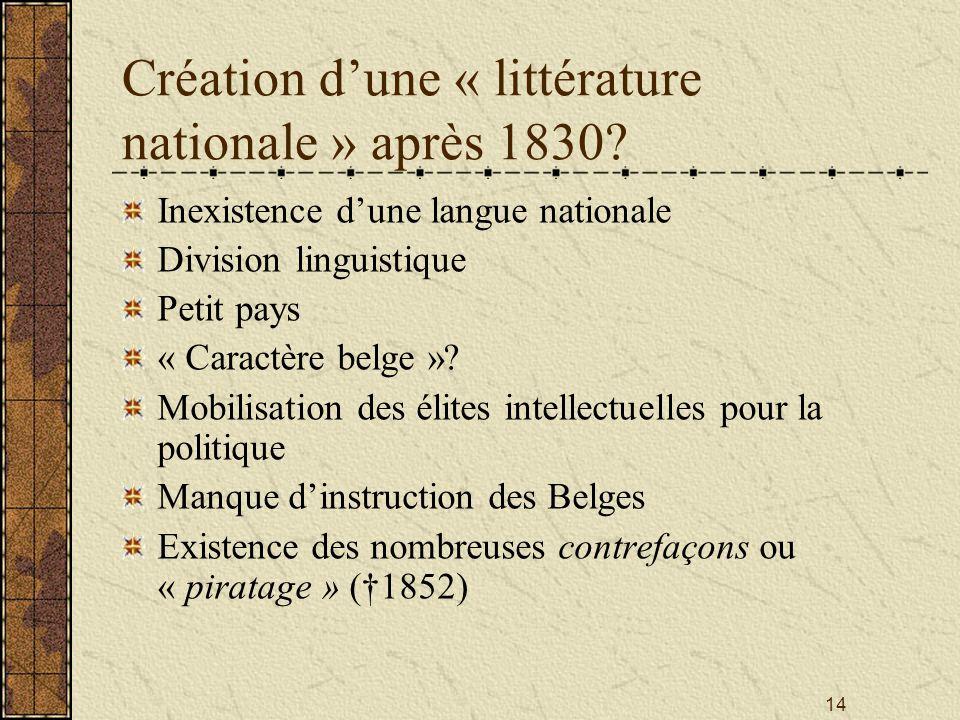 Création d'une « littérature nationale » après 1830