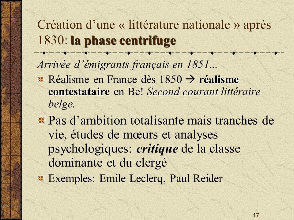 Création d'une « littérature nationale » après 1830: la phase centrifuge