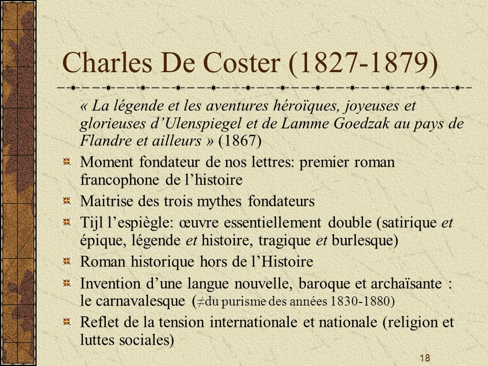 Charles De Coster (1827-1879)