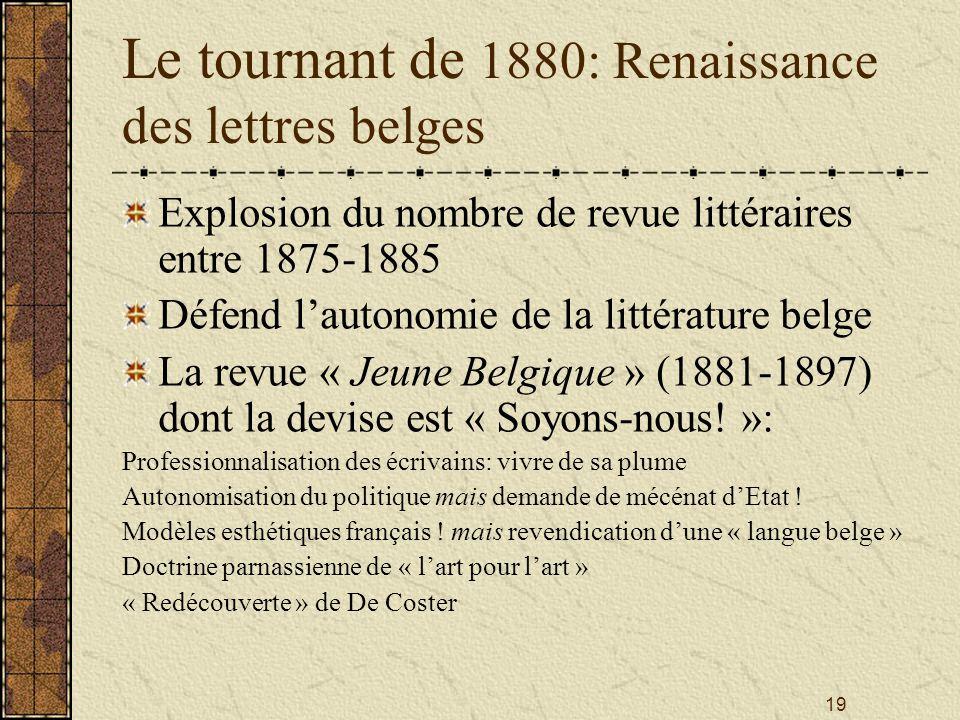 Le tournant de 1880: Renaissance des lettres belges