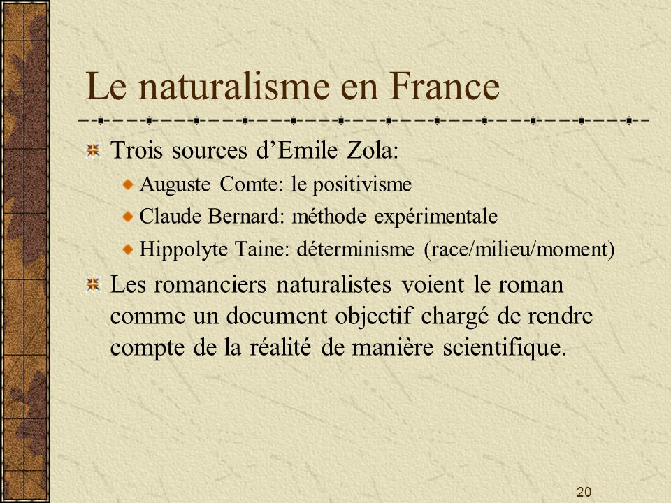 Le naturalisme en France