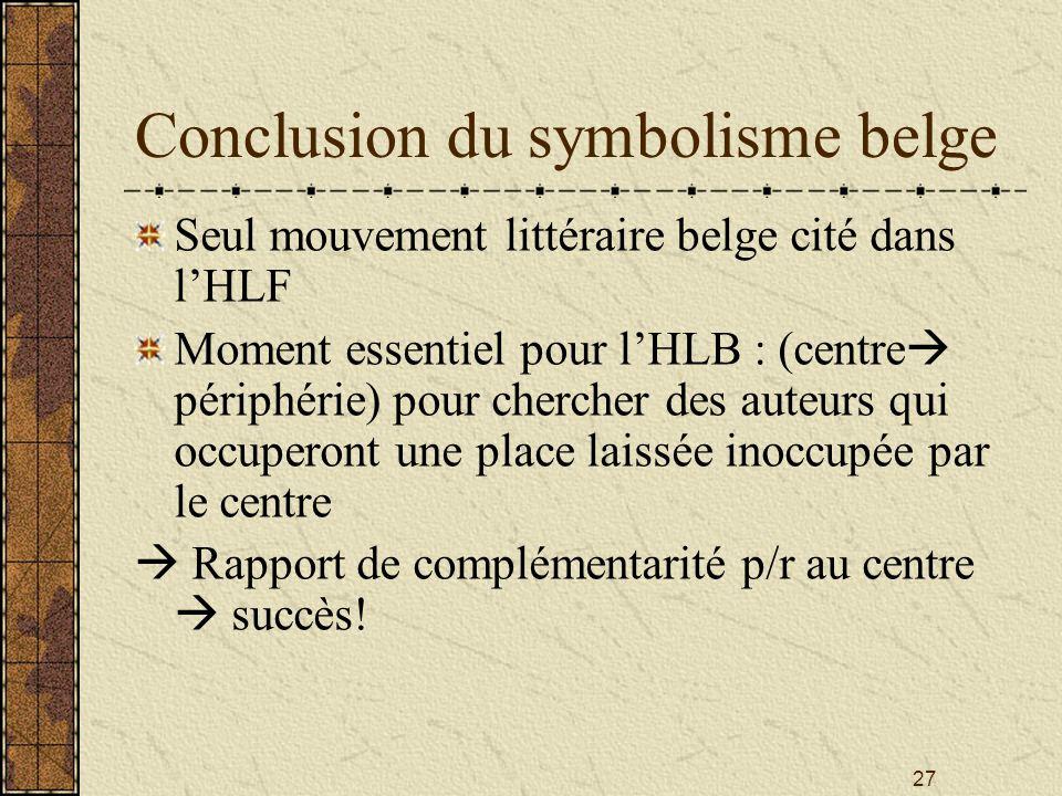 Conclusion du symbolisme belge