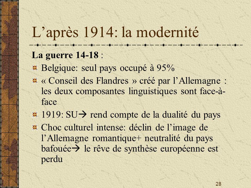L'après 1914: la modernité La guerre 14-18 :