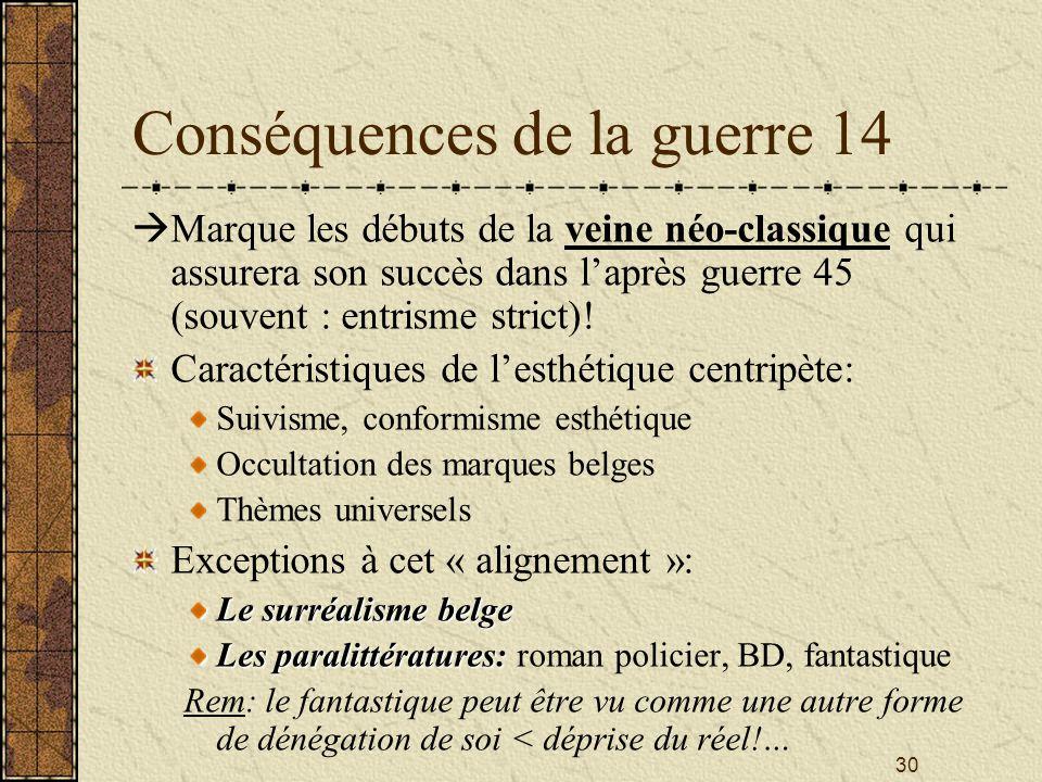 Conséquences de la guerre 14