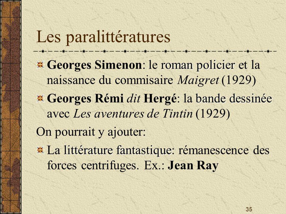 Les paralittératures Georges Simenon: le roman policier et la naissance du commisaire Maigret (1929)