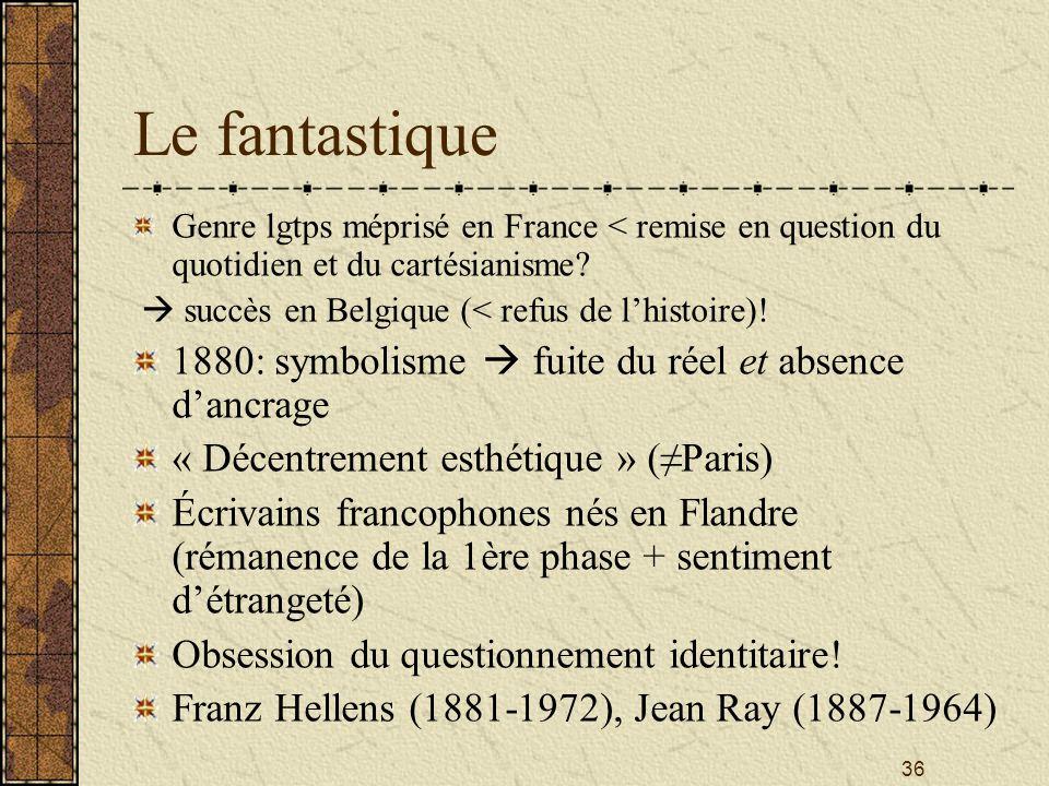 Le fantastique 1880: symbolisme  fuite du réel et absence d'ancrage